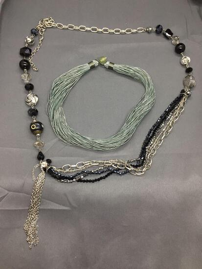 Lot of Two Designer Fashion Jewelry, One Faux Beaded Hand-Strung 36in Long Necklace & 18in Long