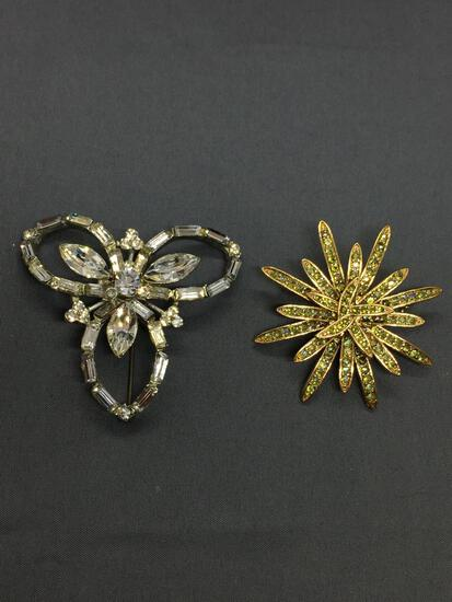 Lot of Two Floral Design Fashion CZ Accented Alloy Brooches One 50mm Diameter & One 55mm Diameter