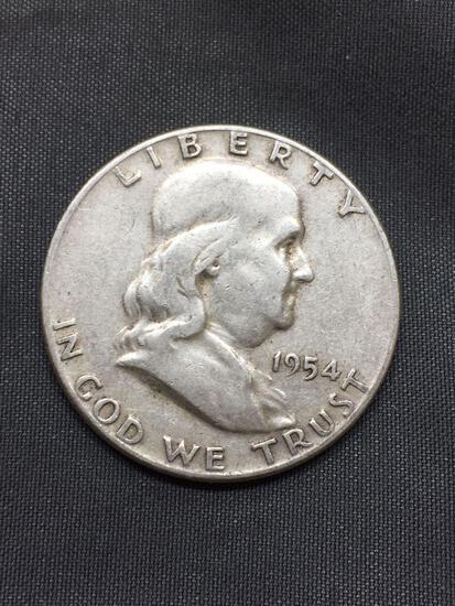1954 United States Franklin Half Dollar - 90% Silver Coin - 0.361 ASW