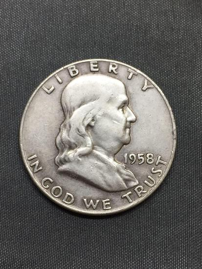 1958-D United States Franklin Half Dollar - 90% Silver Coin - 0.361 ASW