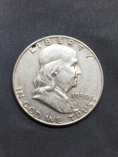 1950 United States Franklin Half Dollar - 90% Silver Coin - 0.361 ASW