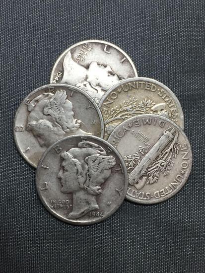Random Date Mercury Dime - 90% Silver Coins (TIMES THE BID)