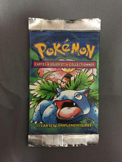 Factory Sealed Pokemon Base Set 1st Edition FRENCH 11 Card Booster Pack - 21.05 Grams