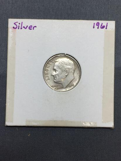 1961 United States Roosevelt Silver Dime - 90% Silver Coin from Estate