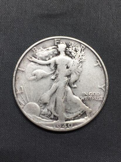 1940-S United States Walking Liberty Half Dollar - 90% Silver Coin - 0.361 ASW