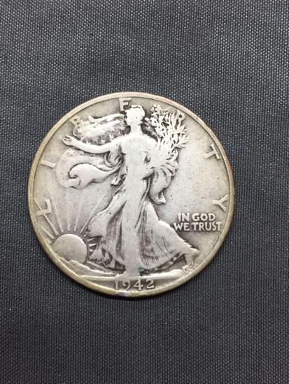 1942-S United States Walking Liberty Half Dollar - 90% Silver Coin - 0.361 ASW