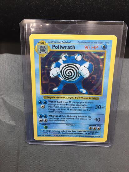 Pokemon Base Set SHADOWLESS Holo Rare Pokemon Card - Poliwrath 13/102