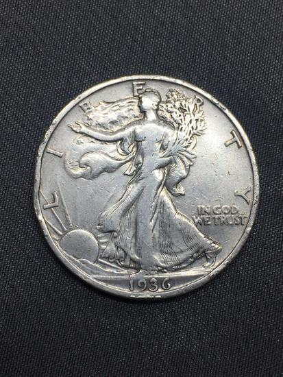 1936-S United States Walking Liberty Half Dollar - 90% Silver Coin - 0.361 ASW