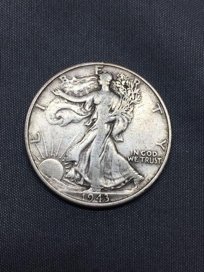 1943 United States Walking Liberty Half Dollar - 90% Silver Coin - 0.361 ASW