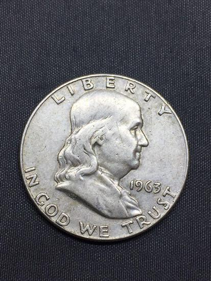 1963-D United States Franklin Half Dollar - 90% Silver Coin - 0.361 ASW