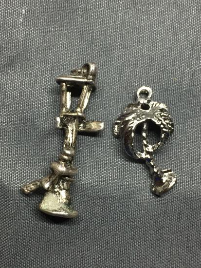 Lot of Two Sterling Silver Charms, One Palm Tree & One Gas Lamp post