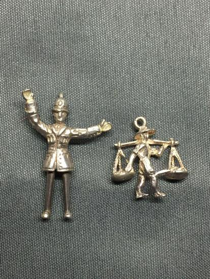 Lot of Two Sterling Silver Charms, One Gold Prospector Figurine & One Policeman