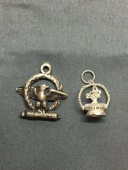 Lot of Two Sterling Silver Charms, One Military Eagle Crest & One Crown