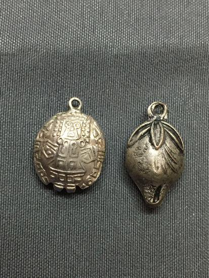 Lot of Two Sterling Silver Charms, One Aztec Symbol & One Fruit