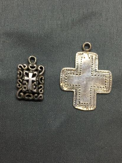 Lot of Two Sterling Silver Charms, One Engraved Cross & One Filigree Decorated Cross