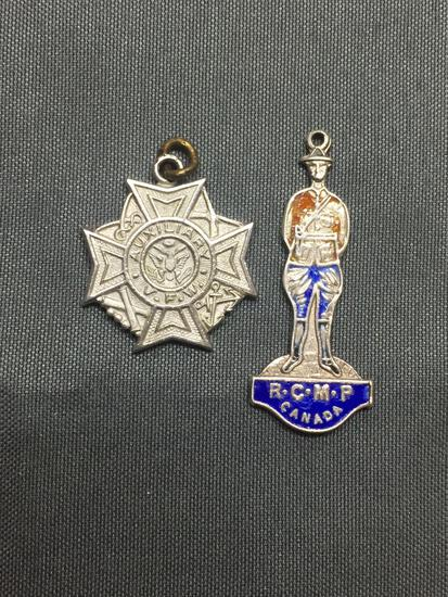 Lot of Two Sterling Silver Charms, One RCMP Canada Figurine & One VFW Auxiliary