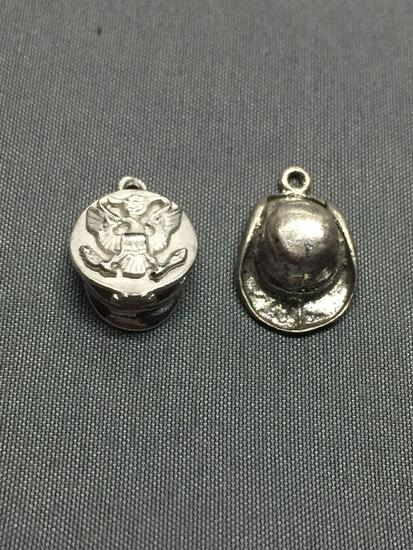 Lot of Two Sterling Silver Charms, One Cowboy Hat & One Military Hat