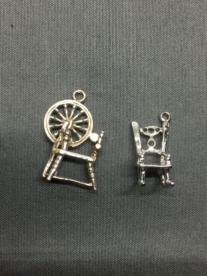 Lot of Two Sterling Silver Charms, One Weaving Loom & One Rocking Chair