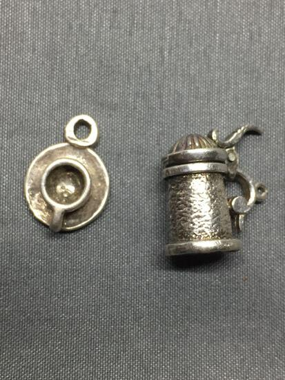 Lot of Two Sterling Silver Charms, One Opening Beer Stein & One Teacup w/ Saucer