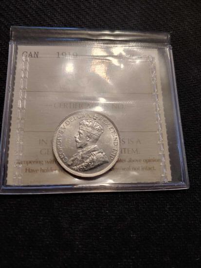 1919 Canadian Au 50 quarter silver