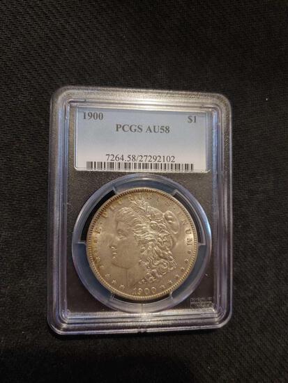 1900 PCGS AU58 Morgan silver dollar
