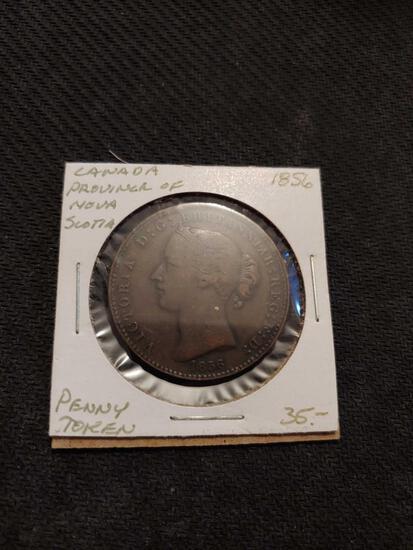 1856 Canada Province of Nova Scotia Penny Token rare