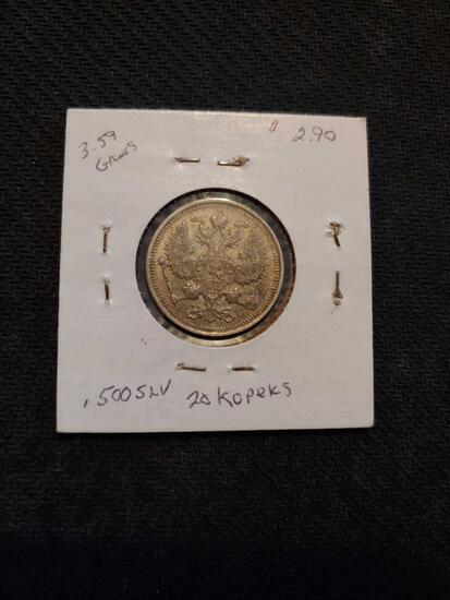 1915 20 Kopeks .500 silver Russia coin