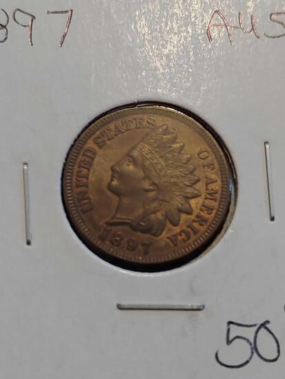 1897 Au58 Indian Head Penny