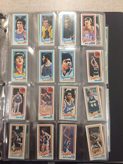 Binder of 1980-81 Topps Basketball Cards from Collection with Magic Johnson & Larry Bird Rookie