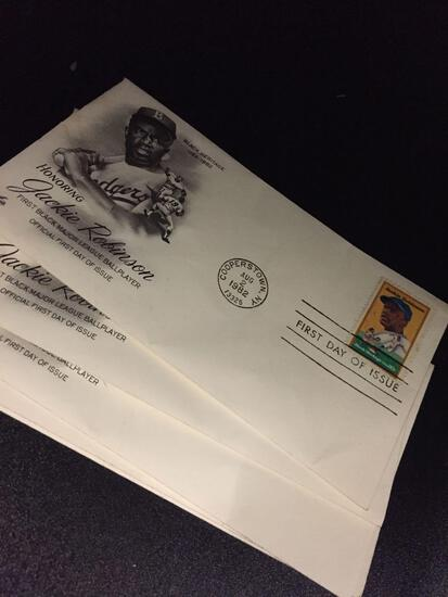 5 Count Lot Cooperstown NY Aug 2 1982 Honoring JACKIE ROBINSON Envelopes & Stamps