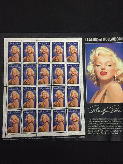Legends of Hollywood MARILYN MONROE 20 Stamps USA 32