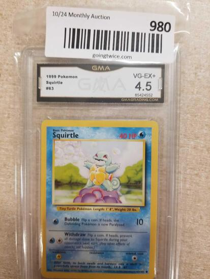 GMA Graded 1999 Pokemon Base Set Unlimited SQUIRTLE Trading Card - VG-EX+ 4.5