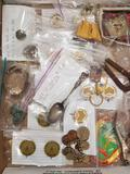 Mixed Lot of Antiques Including Jewelry, Coins, Pins, Magnet and Other Vintage Collectibles from