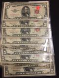 10 Count Lot of Old US $5 Bills
