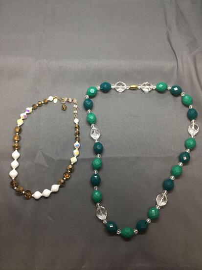 Lot of Two Briolette Faceted Resin Hand-Beaded Multi-Colored Fashion Necklaces, One 24in Long & One