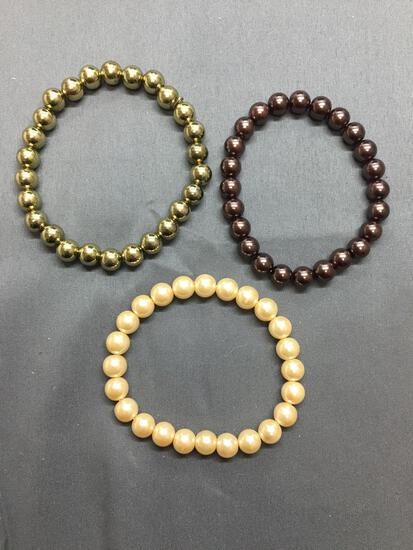 Lot of Three Faux Pearl Beaded 7in Long Stretchable Bracelets, One Chocolate, One Cr?me & One