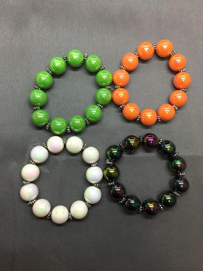 Lot of Three Iridescent Bead 8in Stretchable Fashion Bracelets, One Titanium Color, One Green, One