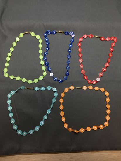 Lot of Five 10mm Wide 16in Long Fashion Alloy Necklaces, One Red, Green, Navy, Orange & Blue Colored
