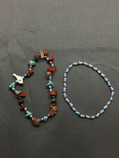 Lot of Two Gemstone Beaded Hand-Strung 8in Long Stretchable Bracelets