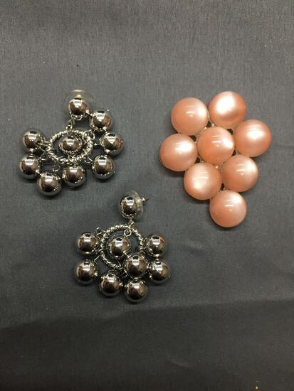Lot of Two, One Pair of Silver-Tone Alloy High Polished Bead Ball Accented Chandelier Earrings & One
