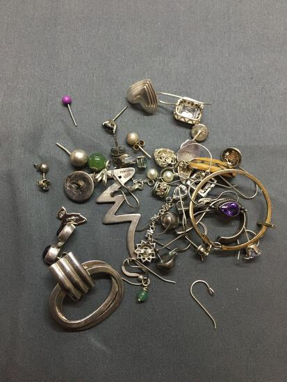 Lot of Various Size & Styled Mismatched Single Sterling Silver Earrings