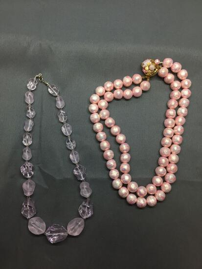 Lot of Two Rose-Tone Hand-Beaded Fashion Necklaces, One 16in Resin Bead & One 16in Double Strand