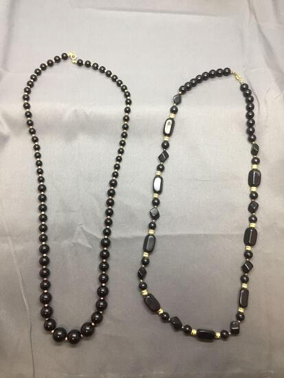 Lot of Two Alternating Black & Gold-Tone Bead Hand-Strung Fashion Necklaces, One 32in & One 30in