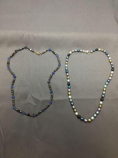 Lot of Two Multi-Colored Hand-Strung Beaded Fashion Necklaces, One Faux Pearl 18in Long & One