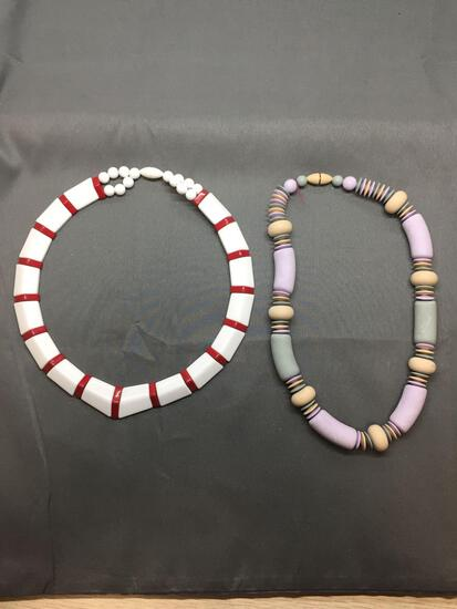 Lot of Two Multi-Colored Hand-Strung Beaded Fashion Necklaces, 18in Long & One Flat 16in Long