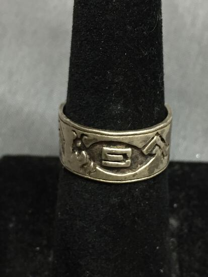 Old Pawn Native American Carved Tribal Sterling Silver Ring Size 6.5