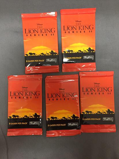 5 Count Lot of Disney's THE LION KING Series II 8 Card Trading Card Pack