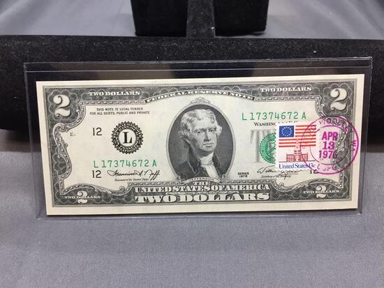 Very Rare 1976 United States Jefferson $2 Bill Note with April 13, 1776 Stamp - Uncirculated
