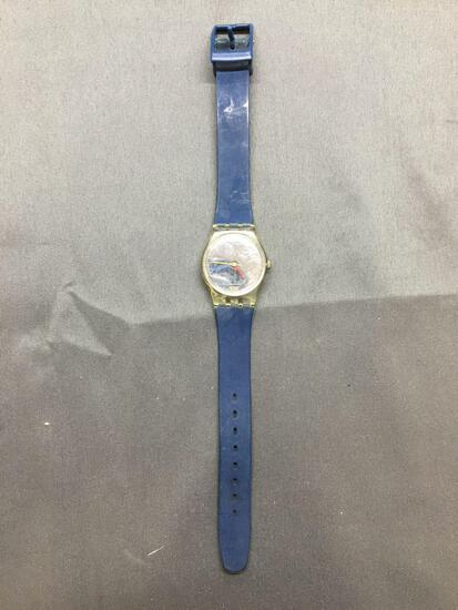 Vintage Women's Swatch Watch with Mirror Face with Blue Band - NEW BATTERY - Runs Well