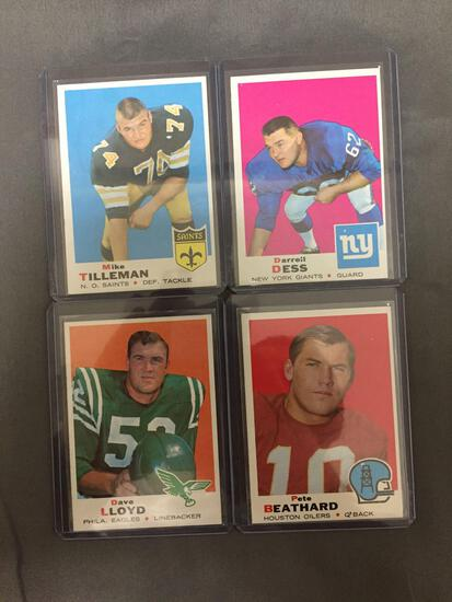 4 Card Lot of 1969 Topps Football Cards from Complete Set Break